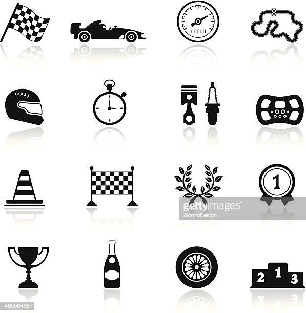 racing icon set - race car stock illustrations, clip art, cartoons, & icons