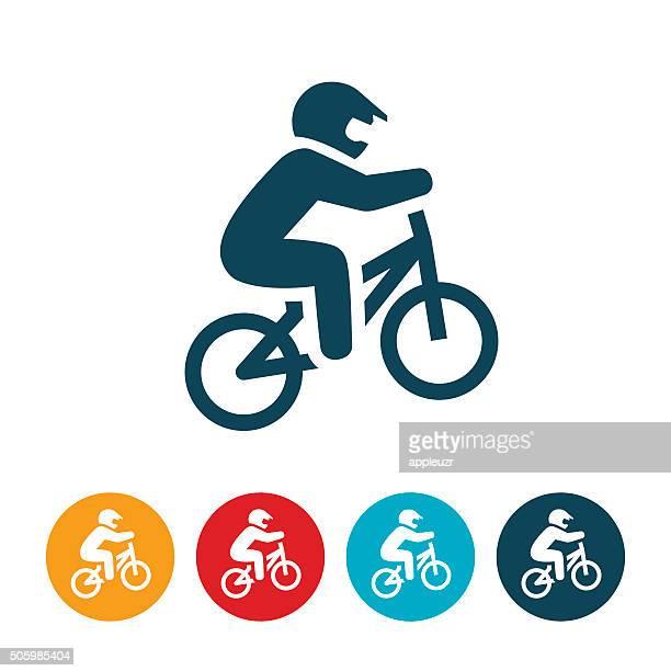 bmx racing icon - bmx cycling stock illustrations
