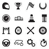Racing Icons. Black Flat Design. Vector Illustration.