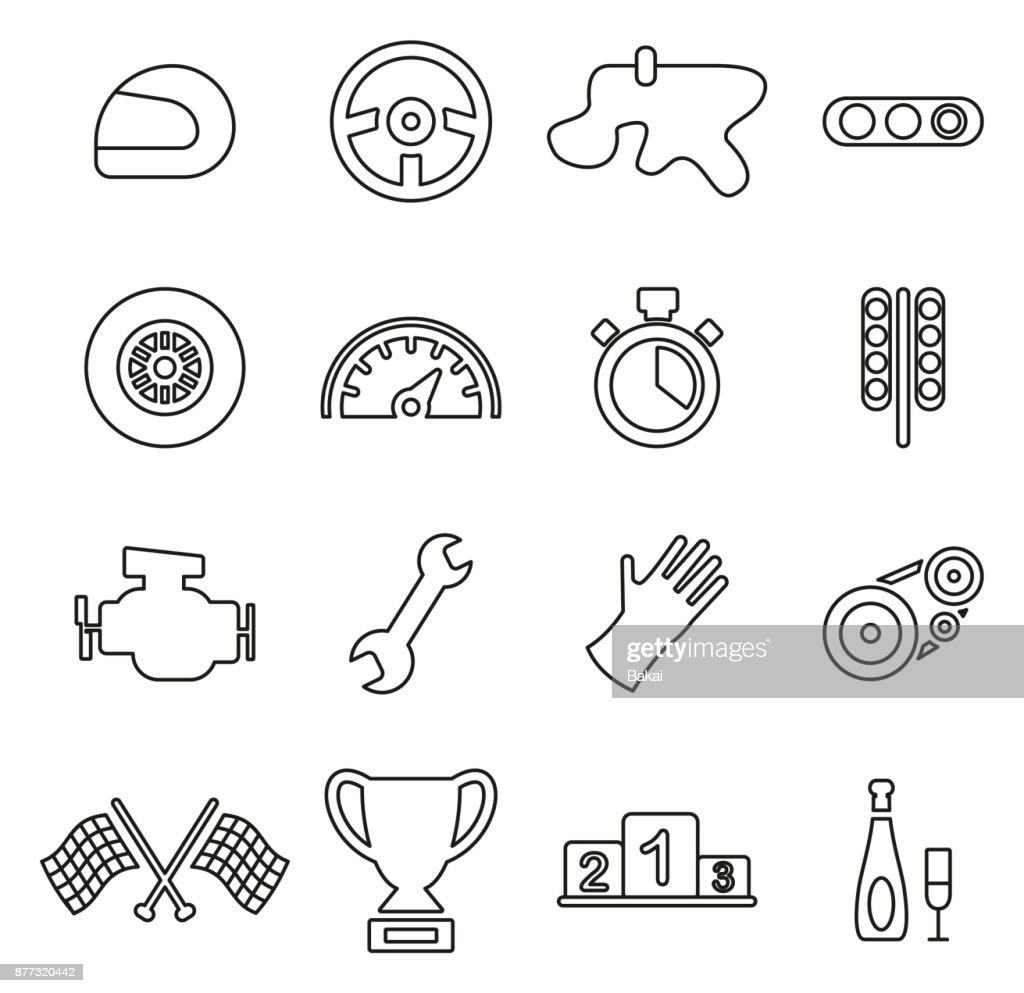 Racing Icons Thin Line Vector Illustration Set