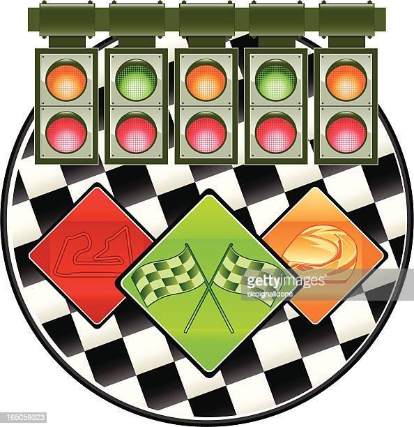 ilustrações, clipart, desenhos animados e ícones de racing luzes & ícones - esporte motorizado
