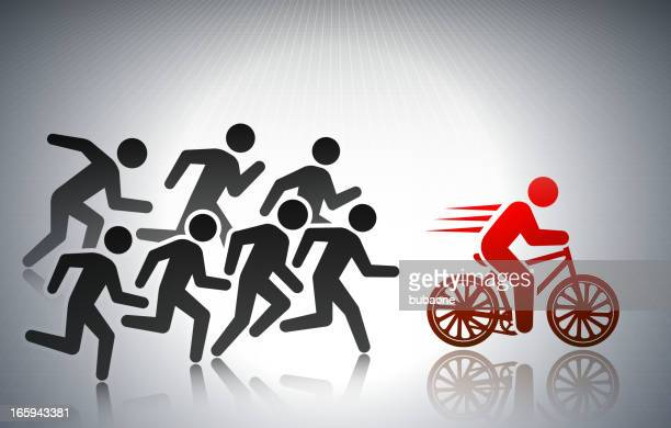 Racing on Bicycle with Business Concept Stick Figures