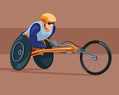 Racing on the sports wheelchair