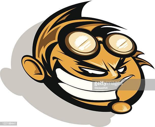 racing or extreme sport mascot - ski goggles stock illustrations, clip art, cartoons, & icons