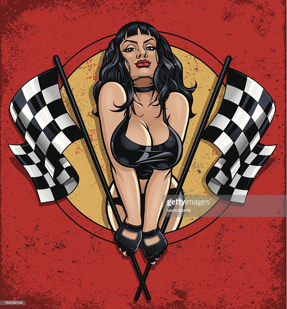 Racing Pinup Holding Two Checkered Flags