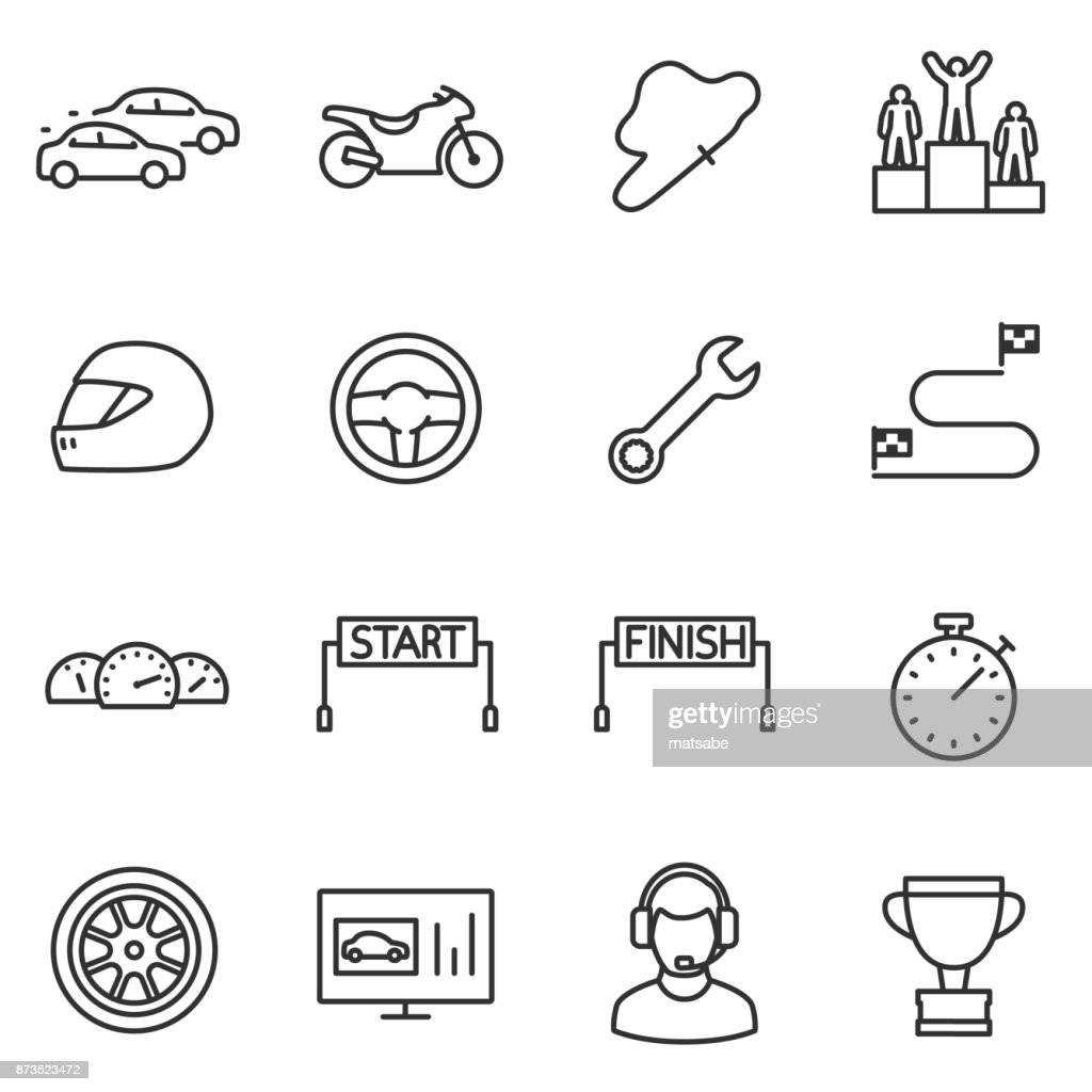 Racing, set icons. Editable stroke.