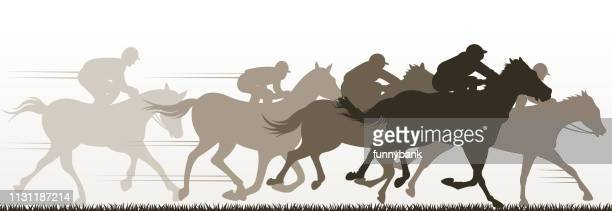 racing silhouette - horse racing stock illustrations