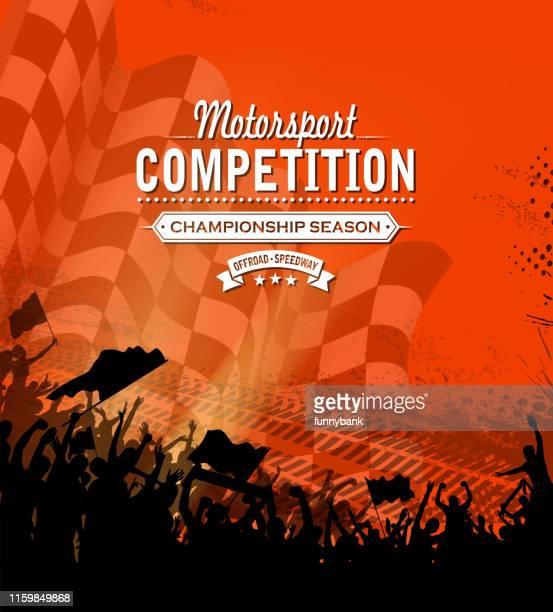 ilustraciones, imágenes clip art, dibujos animados e iconos de stock de mensaje deportivo de carreras - circuito de carreras de coches