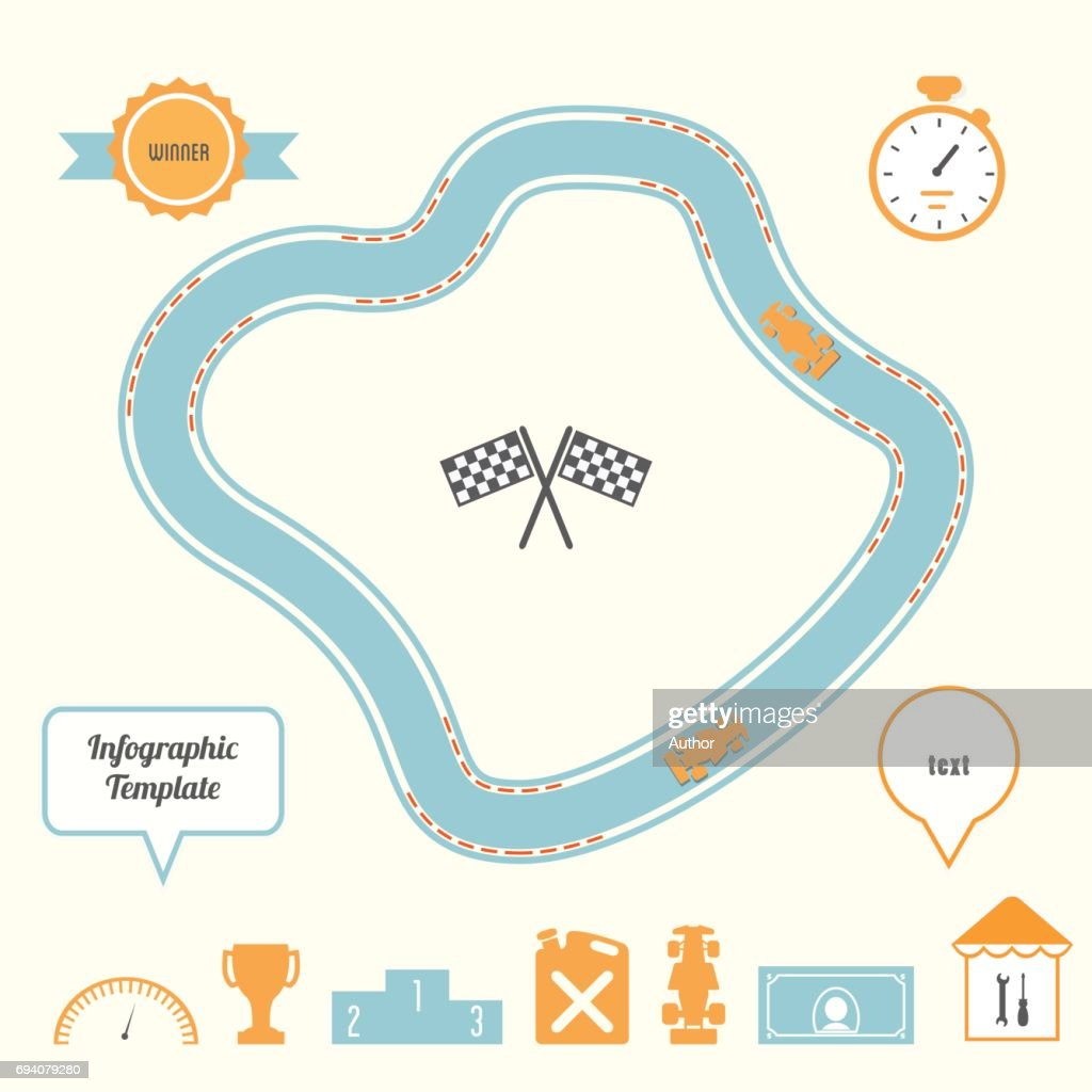 Racing Track and Cars Infographic Template. Competition and  Planning Concept