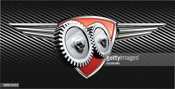 racing winged gears emblem - gearshift stock illustrations, clip art, cartoons, & icons