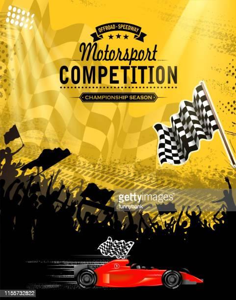 ilustraciones, imágenes clip art, dibujos animados e iconos de stock de carreras ganando diversión - circuito de carreras de coches