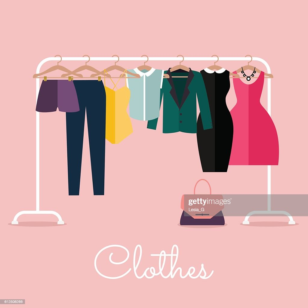 Racks with clothes on hangers. Flat design style modern