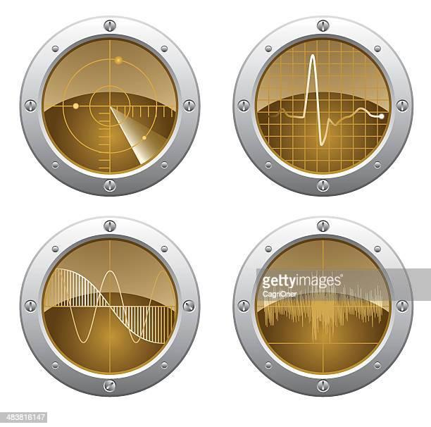 stockillustraties, clipart, cartoons en iconen met radar and oscilloscope monitors - oscilloscoop