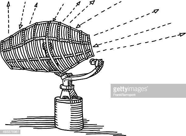 radar antenna signal arrows drawing - antenna aerial stock illustrations, clip art, cartoons, & icons