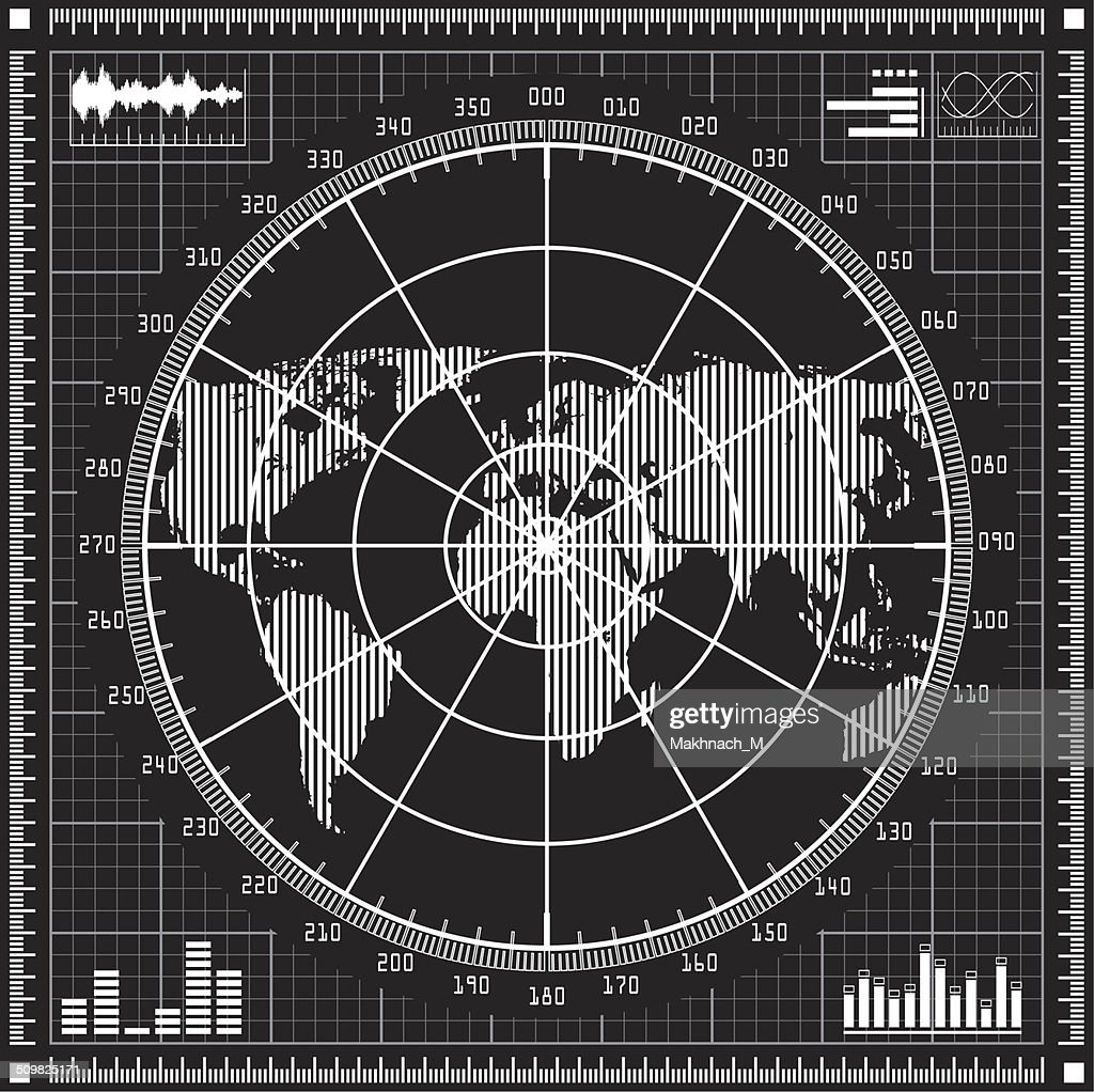 Radar screen.  Black and white vector illustration.