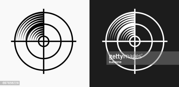 radar screen icon on black and white vector backgrounds - sensor stock illustrations, clip art, cartoons, & icons