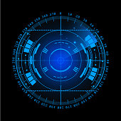Radar screen. Vector illustration for your design. Technology background. Futuristic user interface.  display with scanning. HUD.  EPS