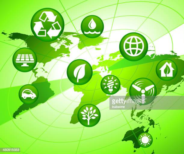 Radar World Map with Green Energy Buttons