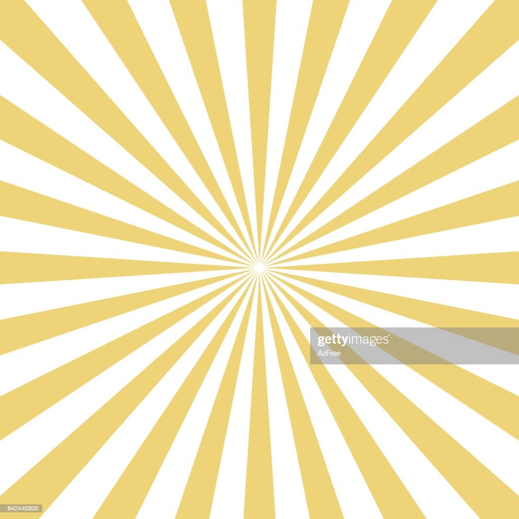 Radial yellow sun burst beams on white background. Vector .