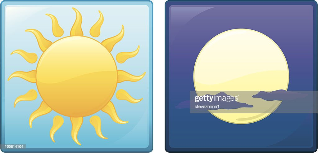 Radiant Yellow Summer Sun and Cool Moon Vector Illustration Icons