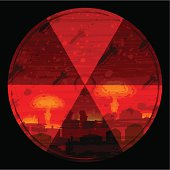 Radiation hazard warning sign against nuclear war background