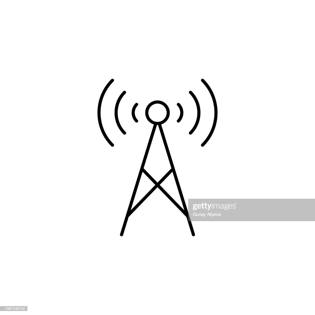 radio antenna icon. Element of technology icon for mobile concept and web apps. Thin line radio antenna icon can be used for web and mobile