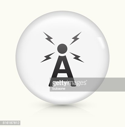 Radio Antenne Symbol Auf Weißer Runder Vektor Knopf Vektorgrafik ...