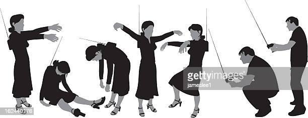radio control woman - bad posture stock illustrations, clip art, cartoons, & icons