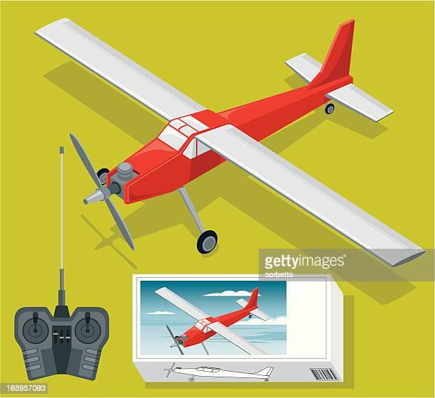 illustrazioni stock, clip art, cartoni animati e icone di tendenza di radio controllo set di aereo - controllato a distanza
