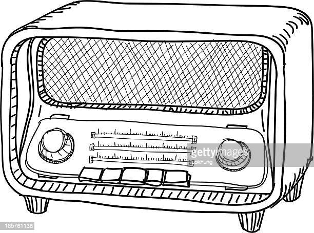 radio in black and white - desk toy stock illustrations, clip art, cartoons, & icons