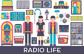 Radio life day collection icon set. Old school TV equipment and workspace in office with DJ presenter man and woman illustration. Vector media vintage technology in fm studio