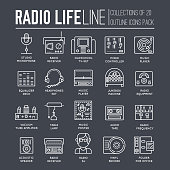 Radio life day thin line collection icon set. Old school TV equipment and workspace in office with DJ presenter man and woman illustration. Vector outline media vintage technology in fm studio