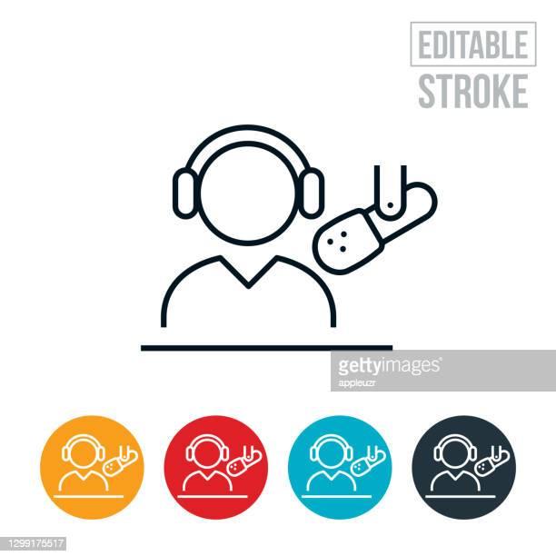 radio news reporter thin line icon - editable stroke - microphone stand stock illustrations