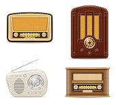 radio old retro vintage set icons stock vector illustration