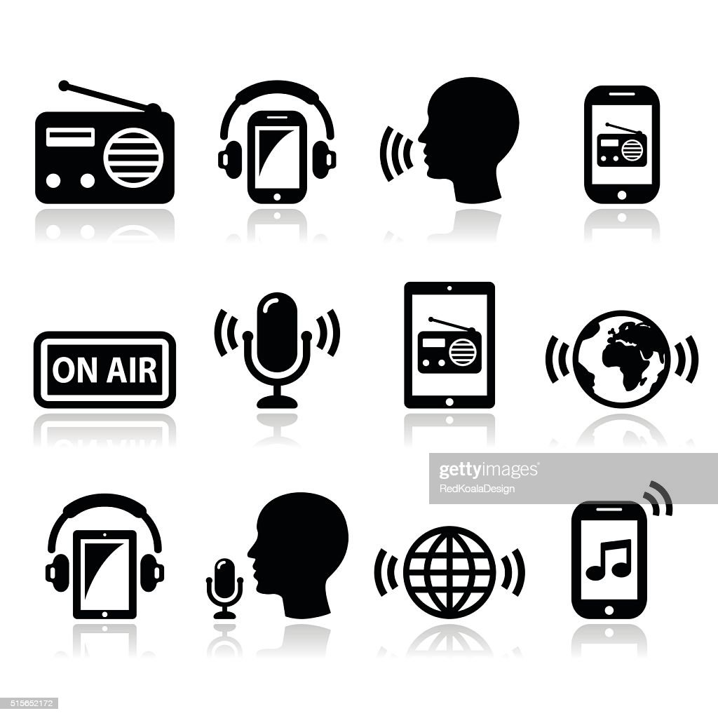 Radio, podcast app on smartphone and tablet icons set
