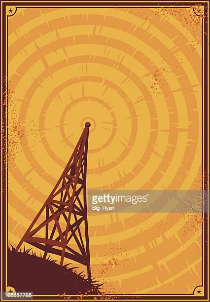 ilustraciones, imágenes clip art, dibujos animados e iconos de stock de póster de radio - torres de telecomunicaciones