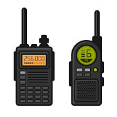 Radio Set Transceiver with Antenna Receiver. Vector
