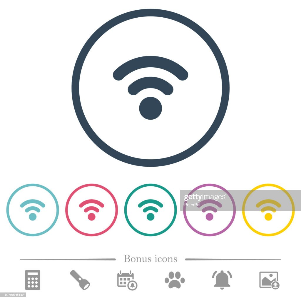 Radio signal flat color icons in round outlines