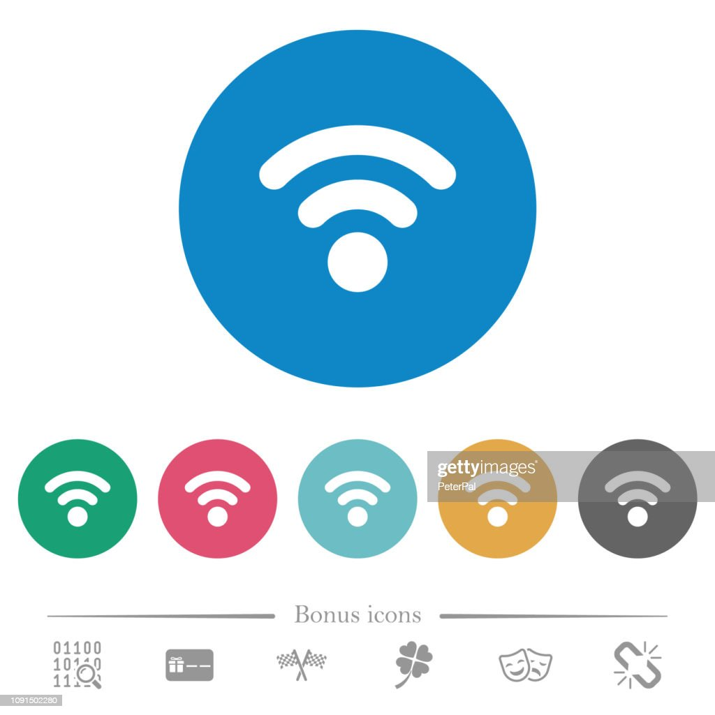 Radio signal flat round icons