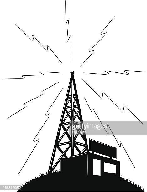 ilustraciones, imágenes clip art, dibujos animados e iconos de stock de gráfico de radio - torres de telecomunicaciones