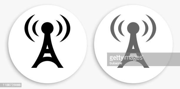 ラジオタワー黒と白のラウンドアイコン - テレビ塔点のイラスト素材/クリップアート素材/マンガ素材/アイコン素材