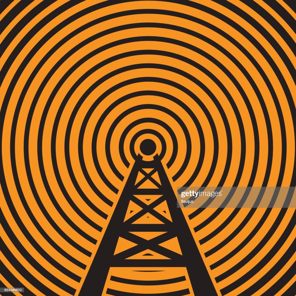 Radio tower broadcast sign or symbol