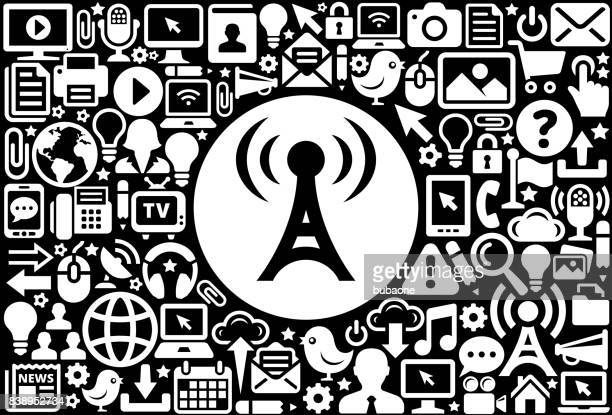 Radio Tower  Icon Black and White Internet Technology Background