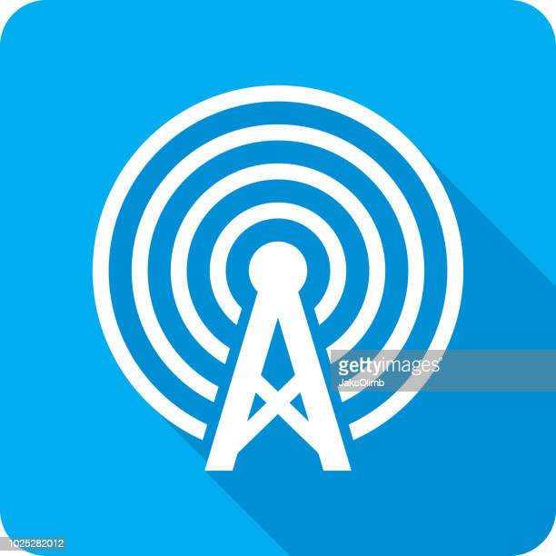 radio tower icon silhouette - tower stock illustrations