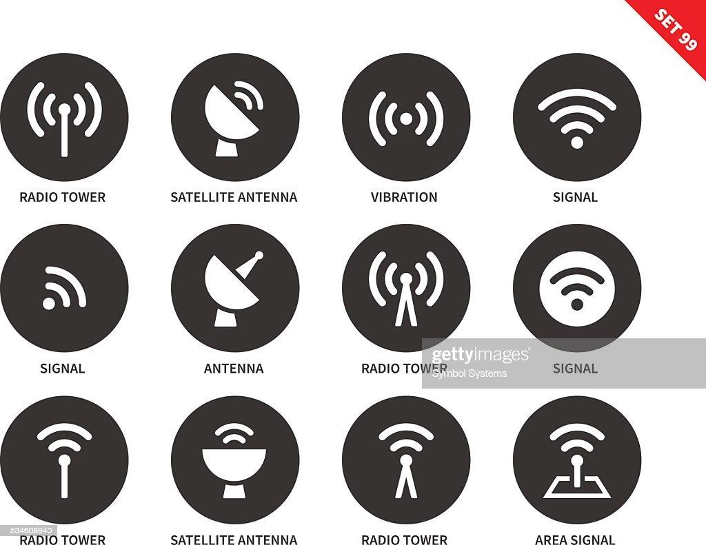 Radio tower icons on white background