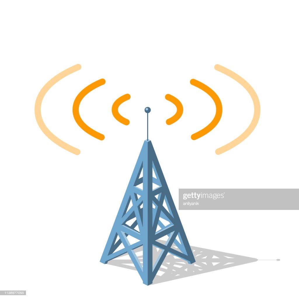 オレンジ色の周波数を送信するラジオ塔 : ストックイラストレーション