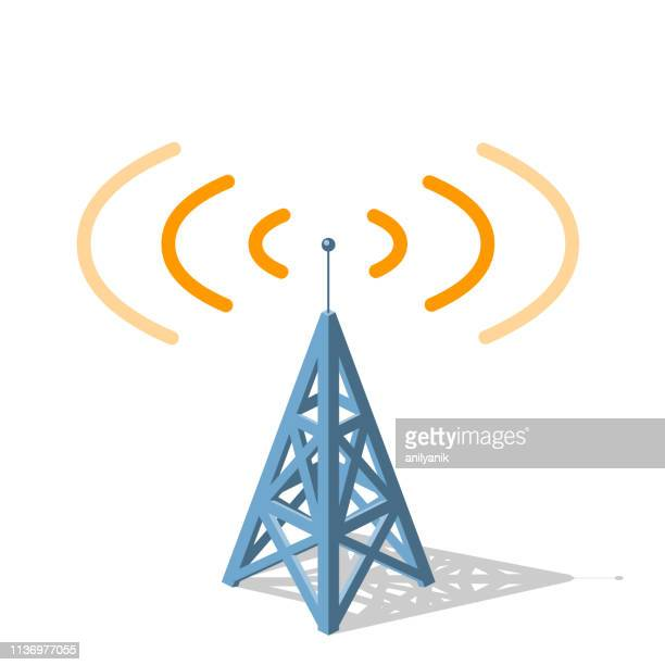 radio tower sending orange frequencies - wireless technology stock illustrations