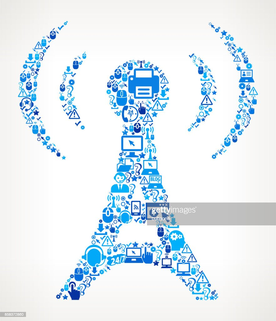 Radio Tower  Tech Support Vector Icon Pattern
