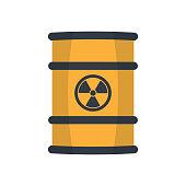 Radioactive waste in barrel.