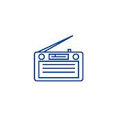 Radio,radioreceiver line icon concept. Radio,radioreceiver flat  vector symbol, sign, outline illustration.